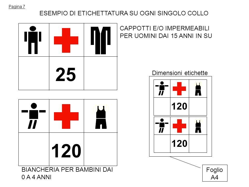 25 120 120 120 ESEMPIO DI ETICHETTATURA SU OGNI SINGOLO COLLO