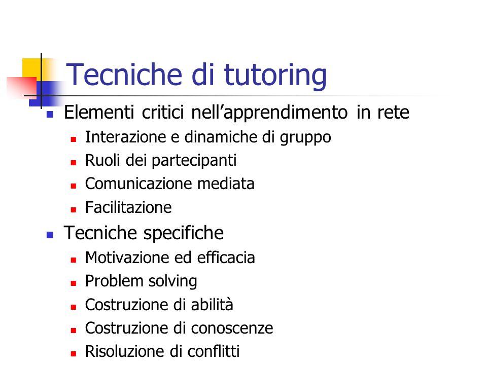 Tecniche di tutoring Elementi critici nell'apprendimento in rete
