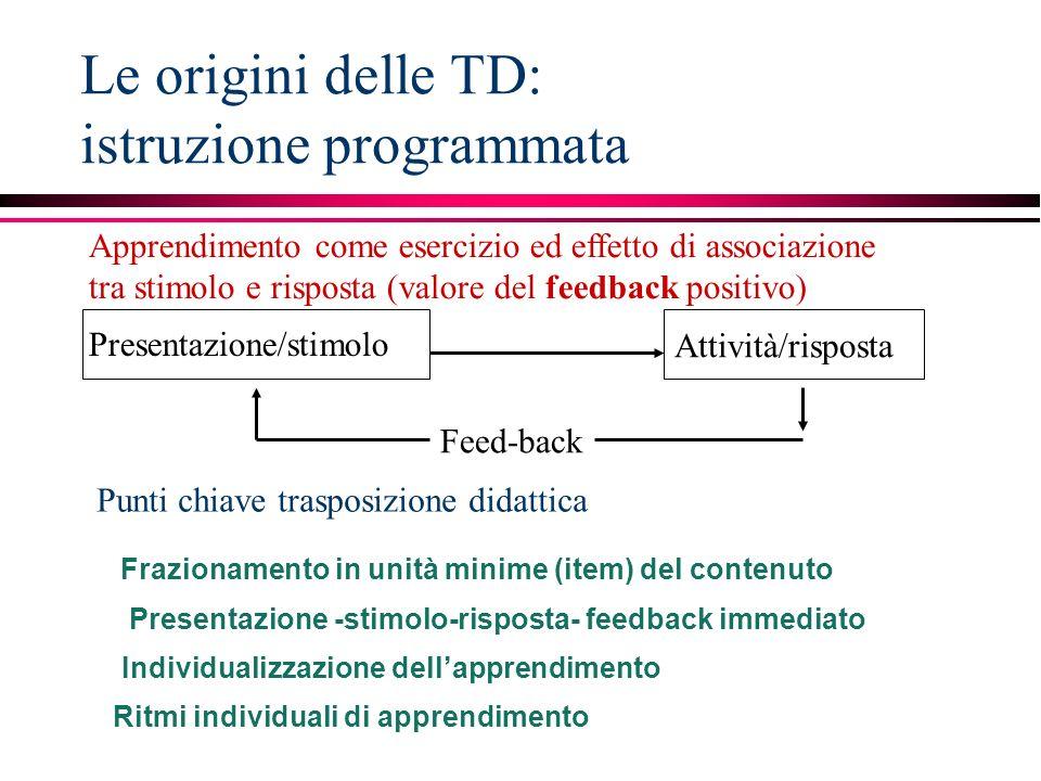 Le origini delle TD: istruzione programmata
