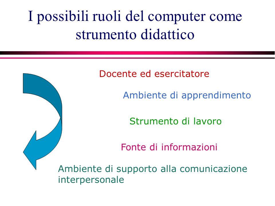I possibili ruoli del computer come strumento didattico