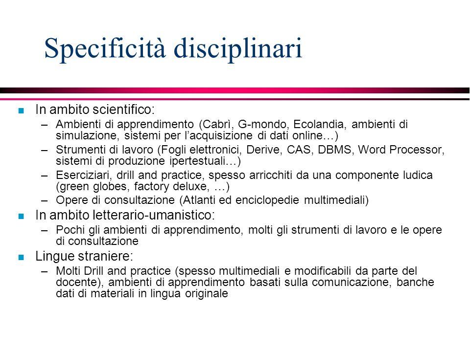 Specificità disciplinari