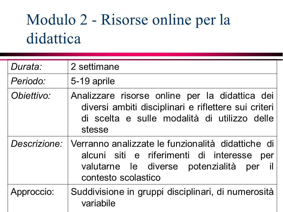 Modulo 2 - Risorse online per la didattica