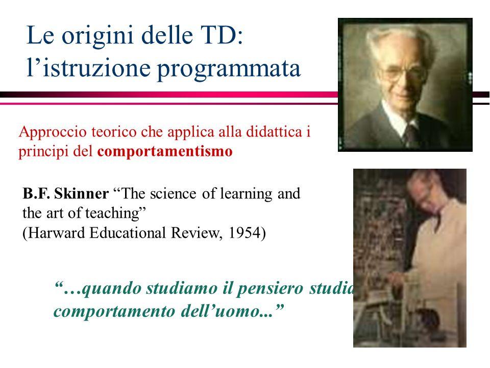 Le origini delle TD: l'istruzione programmata