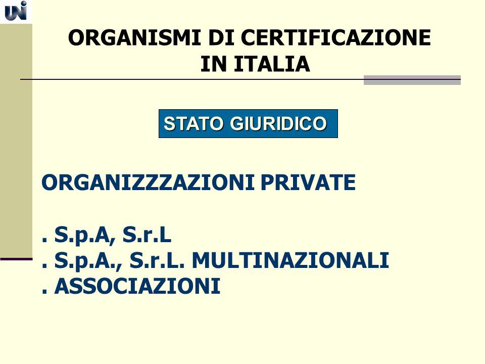 ORGANISMI DI CERTIFICAZIONE IN ITALIA