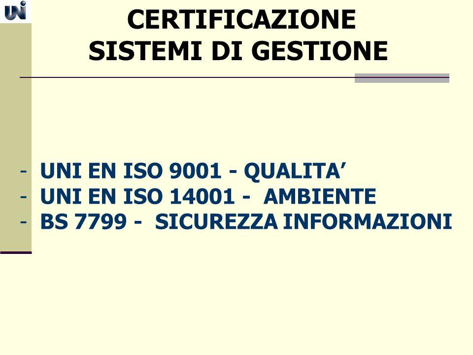 CERTIFICAZIONE SISTEMI DI GESTIONE UNI EN ISO 9001 - QUALITA'