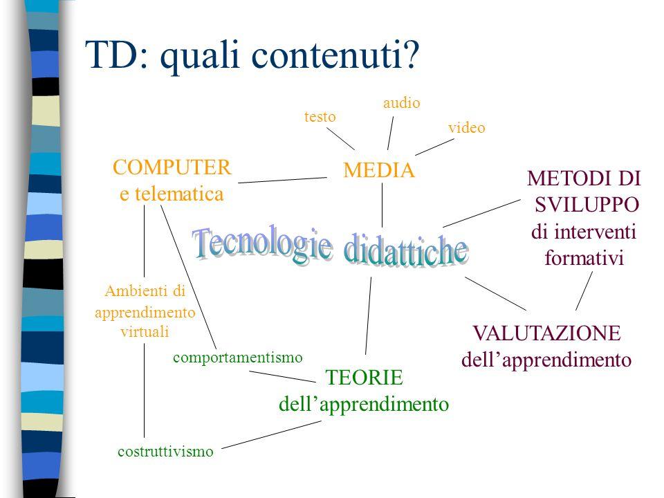 TD: quali contenuti Tecnologie didattiche COMPUTER MEDIA e telematica