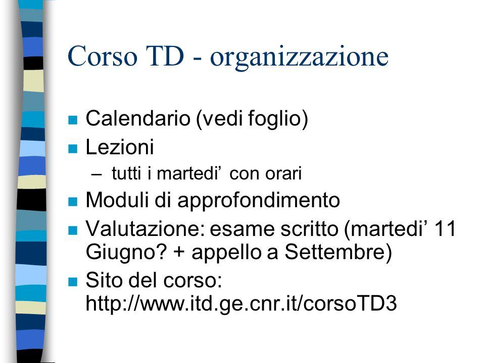 Corso TD - organizzazione