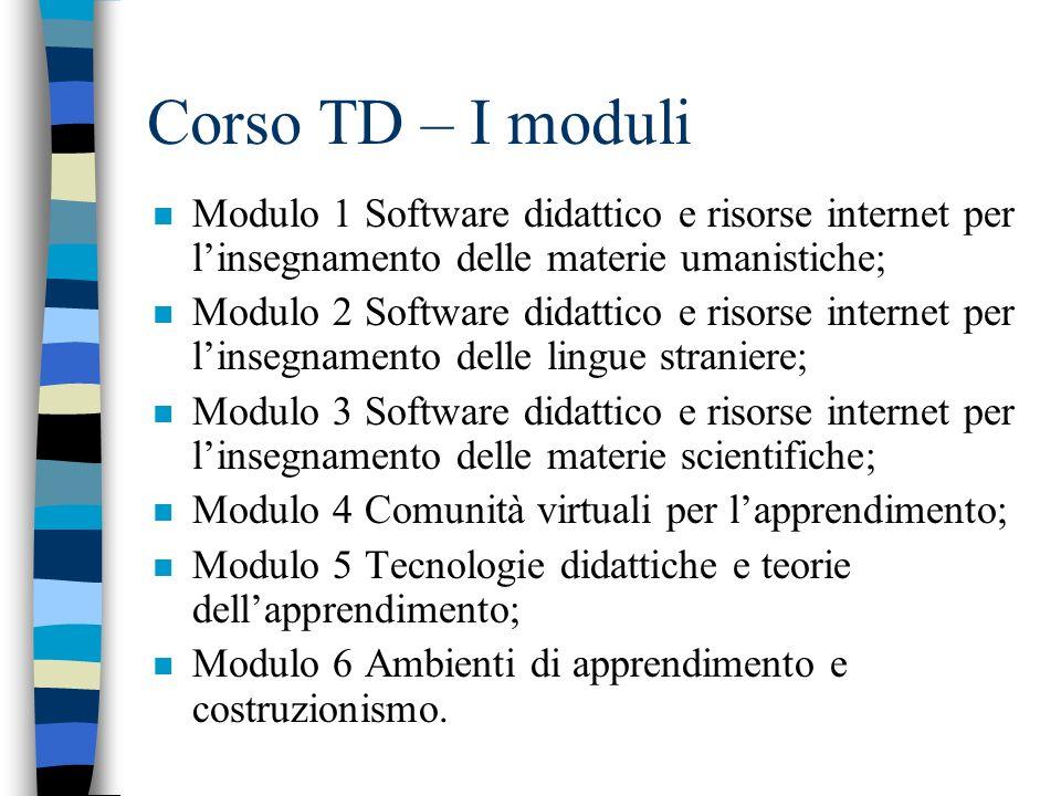 Corso TD – I moduli Modulo 1 Software didattico e risorse internet per l'insegnamento delle materie umanistiche;