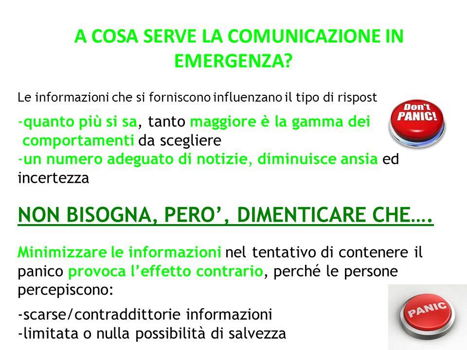 A COSA SERVE LA COMUNICAZIONE IN EMERGENZA