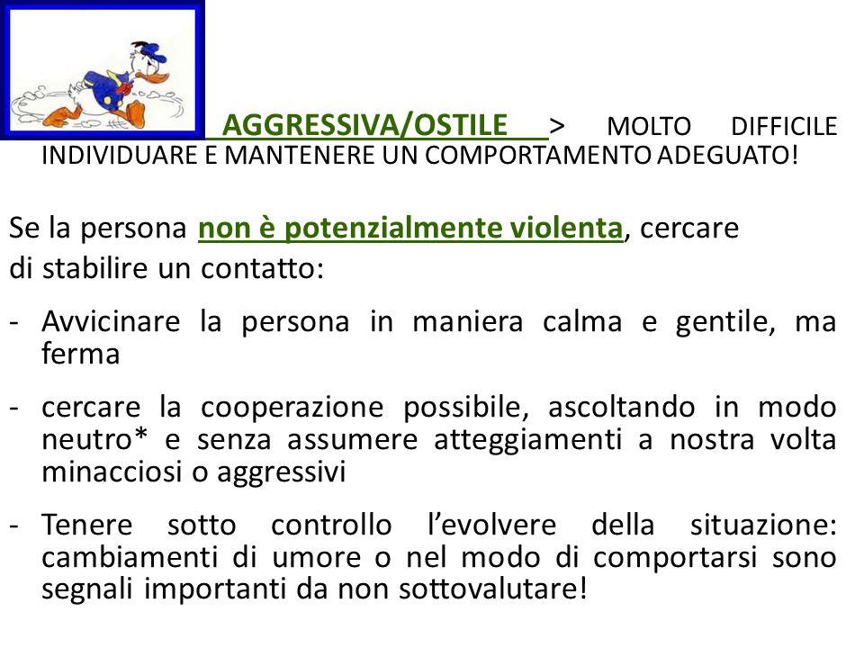 AGGRESSIVA/OSTILE > MOLTO DIFFICILE INDIVIDUARE E MANTENERE UN COMPORTAMENTO ADEGUATO!