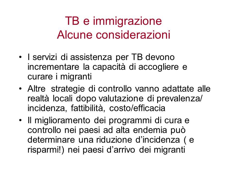 TB e immigrazione Alcune considerazioni
