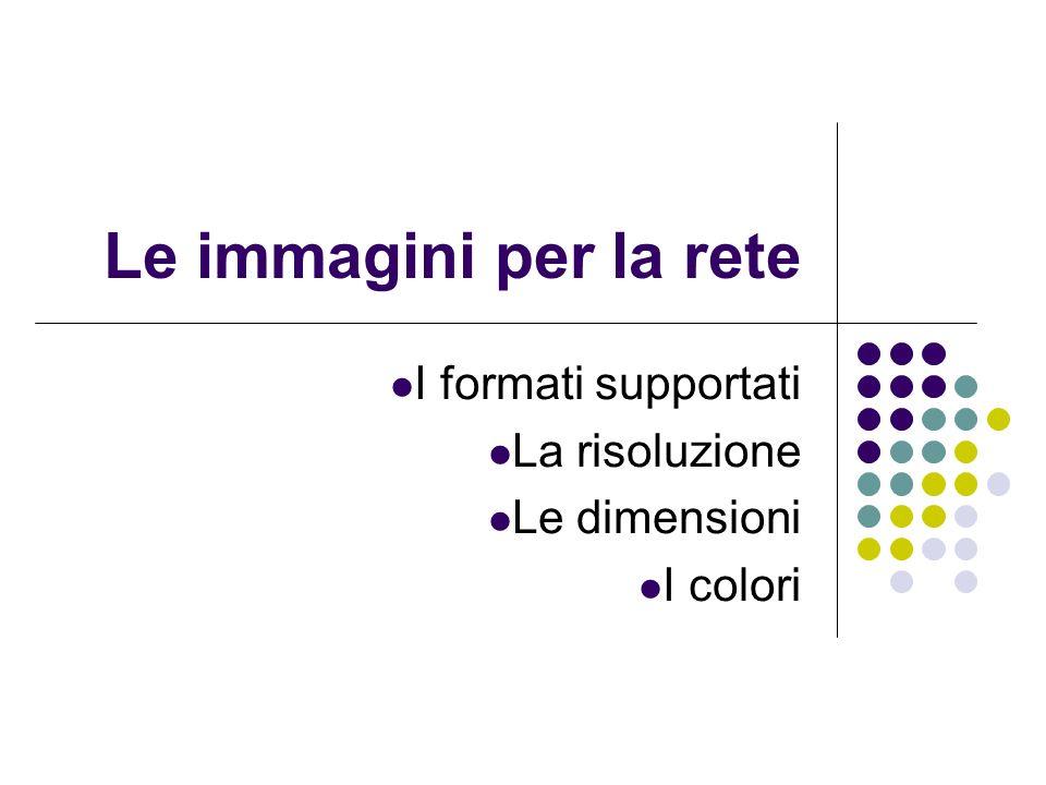 I formati supportati La risoluzione Le dimensioni I colori