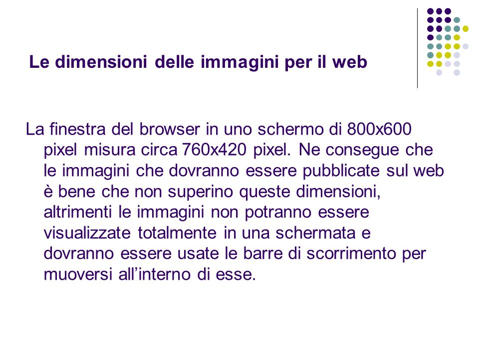 Le dimensioni delle immagini per il web