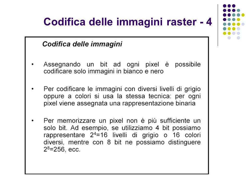 Codifica delle immagini raster - 4