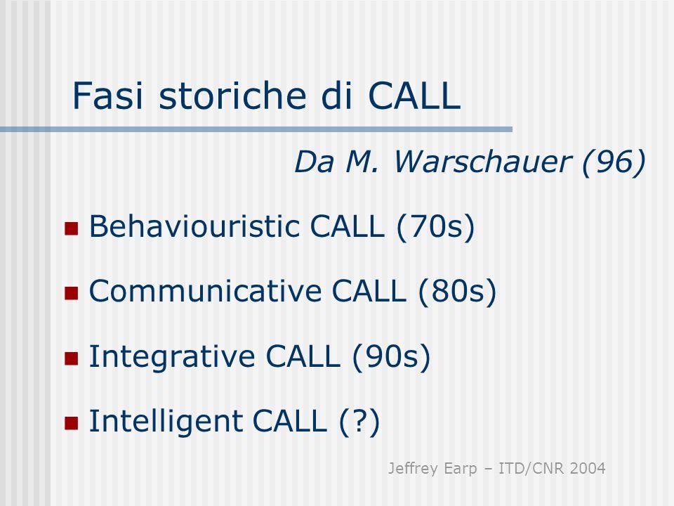 Fasi storiche di CALL Da M. Warschauer (96) Behaviouristic CALL (70s)
