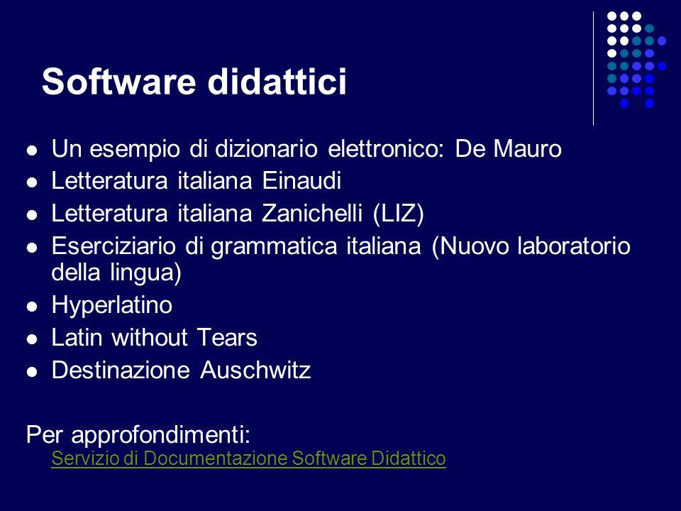 Software didattici Un esempio di dizionario elettronico: De Mauro