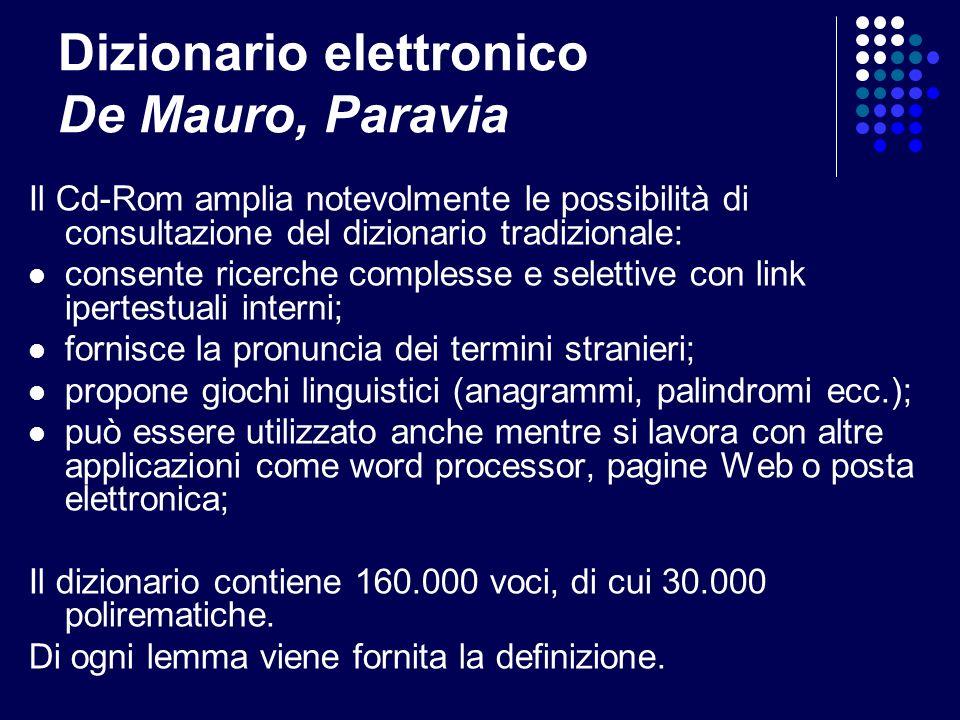 Dizionario elettronico De Mauro, Paravia