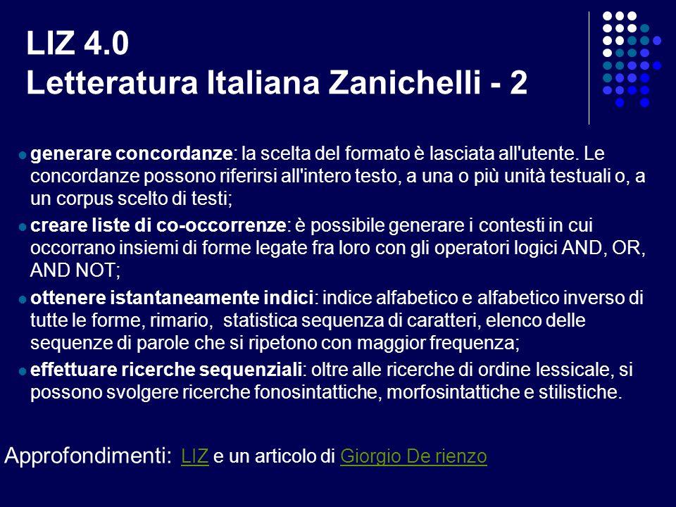 LIZ 4.0 Letteratura Italiana Zanichelli - 2