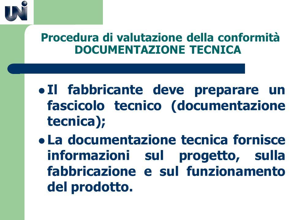 Procedura di valutazione della conformità DOCUMENTAZIONE TECNICA