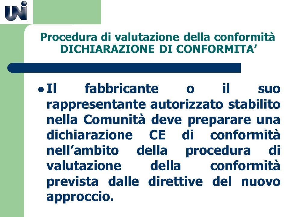 Procedura di valutazione della conformità DICHIARAZIONE DI CONFORMITA'