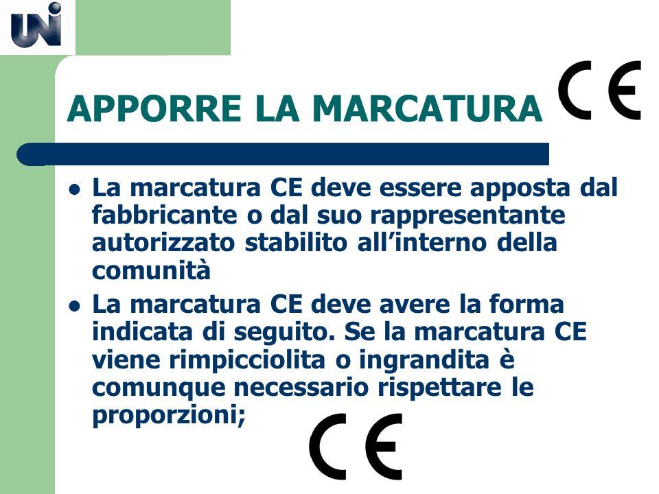 APPORRE LA MARCATURA La marcatura CE deve essere apposta dal fabbricante o dal suo rappresentante autorizzato stabilito all'interno della comunità.