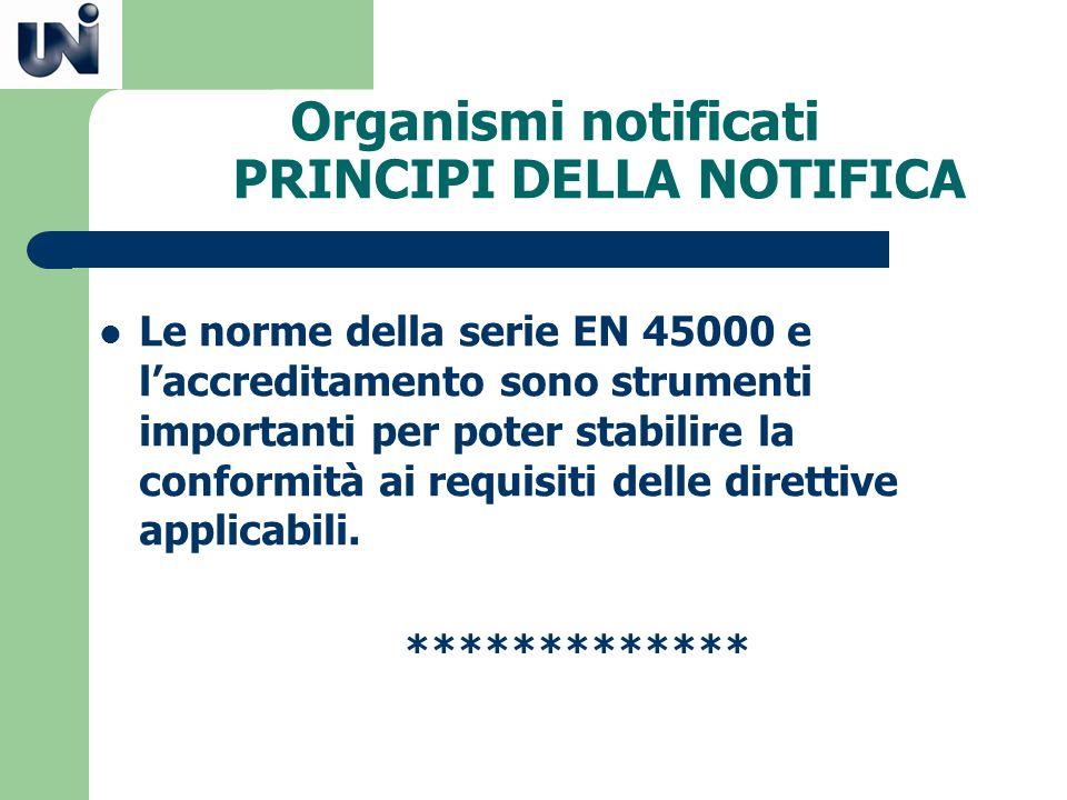 Organismi notificati PRINCIPI DELLA NOTIFICA