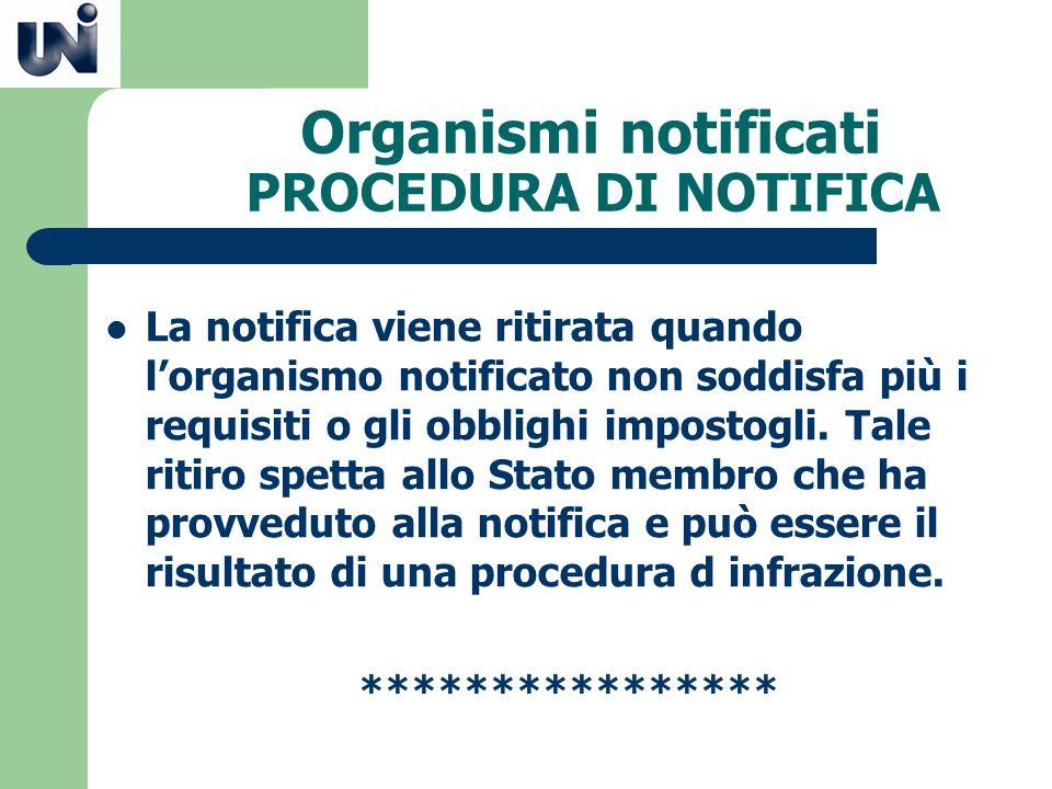 Organismi notificati PROCEDURA DI NOTIFICA