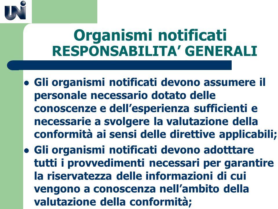 Organismi notificati RESPONSABILITA' GENERALI