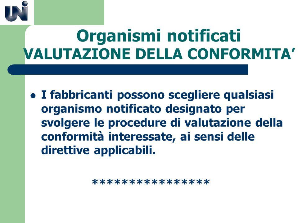 Organismi notificati VALUTAZIONE DELLA CONFORMITA'