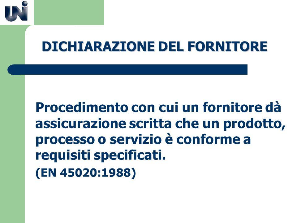DICHIARAZIONE DEL FORNITORE