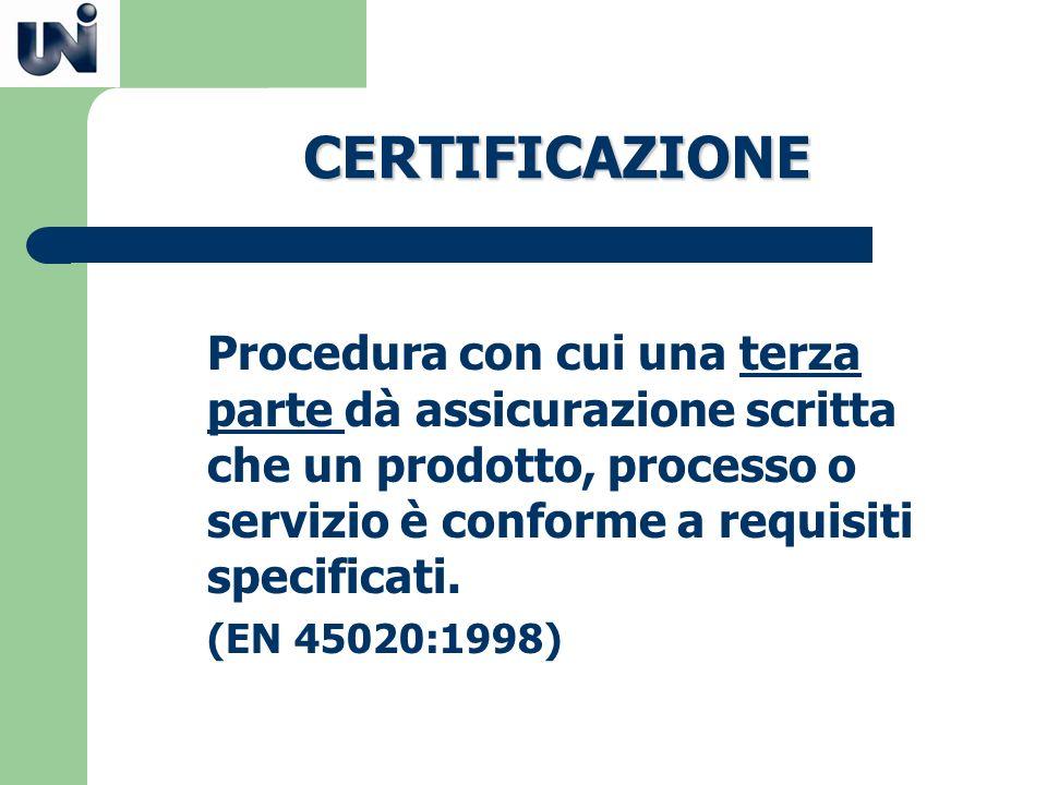 CERTIFICAZIONE Procedura con cui una terza parte dà assicurazione scritta che un prodotto, processo o servizio è conforme a requisiti specificati.