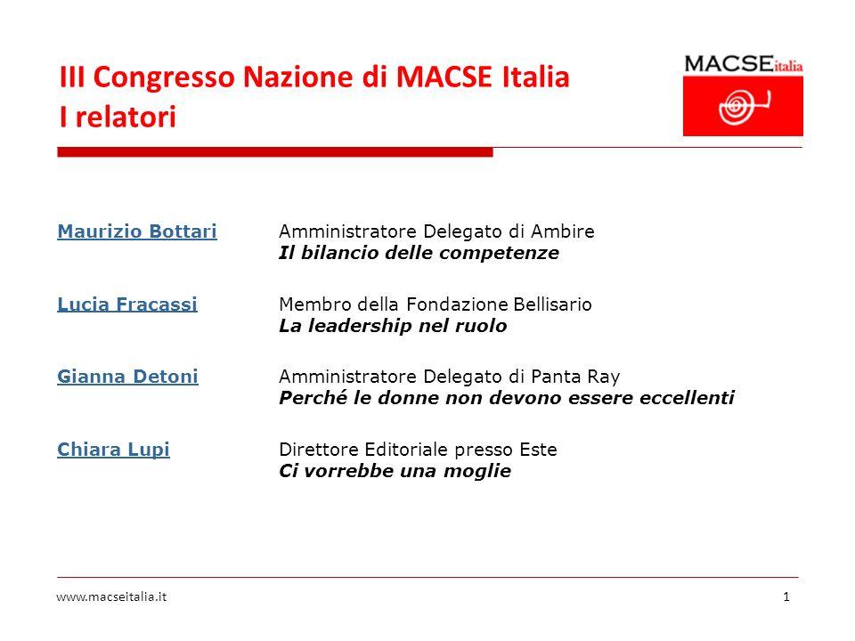 III Congresso Nazione di MACSE Italia I relatori