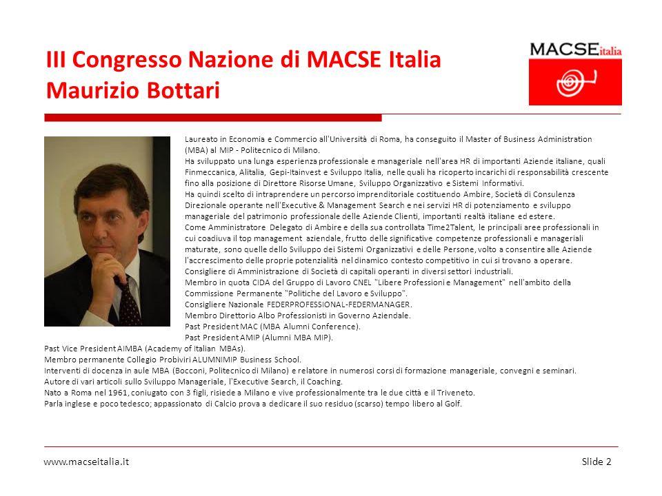 III Congresso Nazione di MACSE Italia Maurizio Bottari