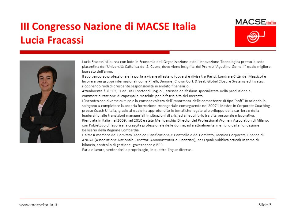 III Congresso Nazione di MACSE Italia Lucia Fracassi