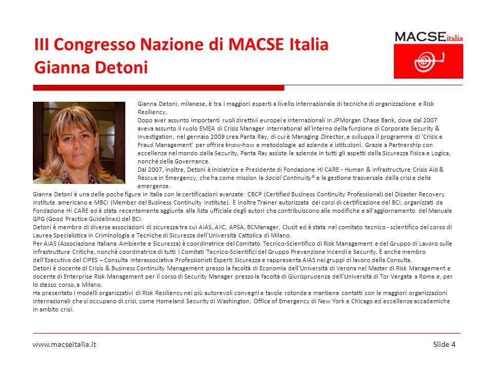 III Congresso Nazione di MACSE Italia Gianna Detoni