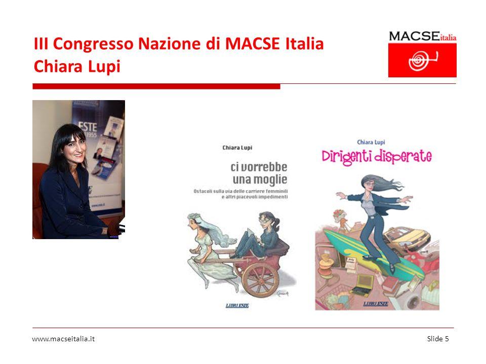 III Congresso Nazione di MACSE Italia Chiara Lupi