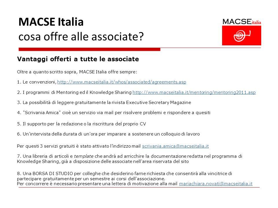 MACSE Italia cosa offre alle associate