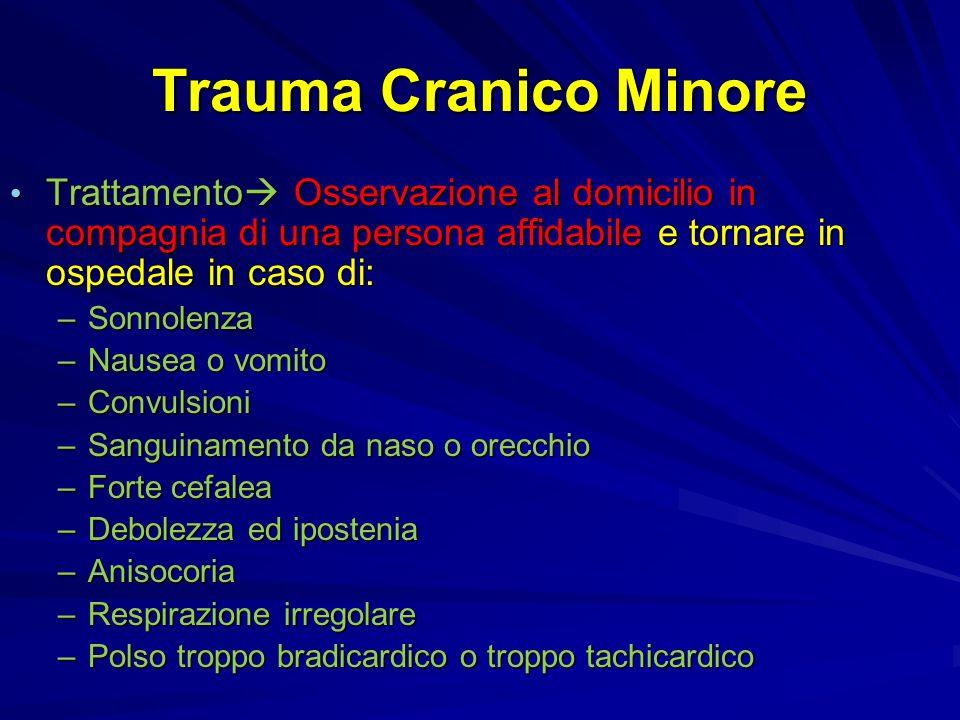 Trauma Cranico Minore Trattamento Osservazione al domicilio in compagnia di una persona affidabile e tornare in ospedale in caso di: