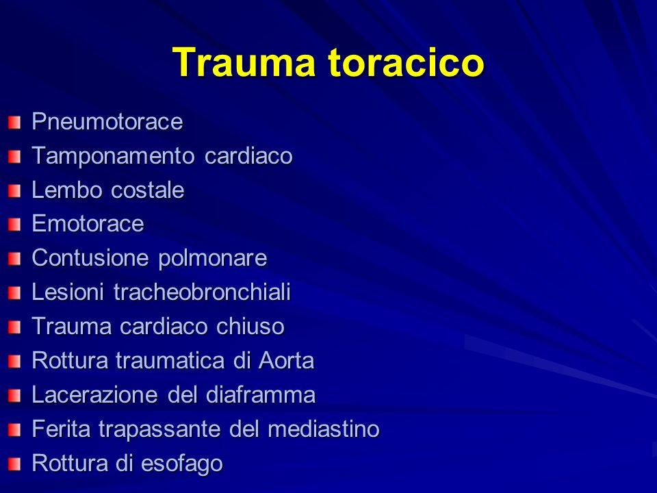 Trauma toracico Pneumotorace Tamponamento cardiaco Lembo costale