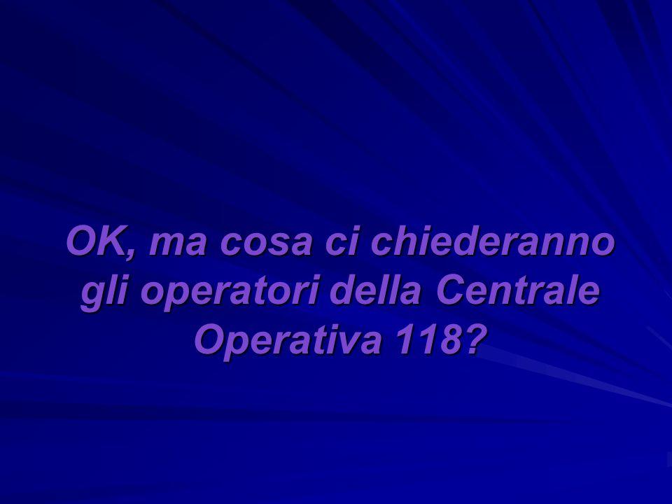 OK, ma cosa ci chiederanno gli operatori della Centrale Operativa 118
