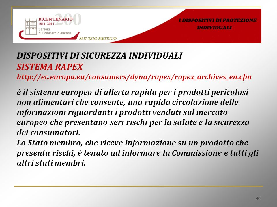 DISPOSITIVI DI SICUREZZA INDIVIDUALI SISTEMA RAPEX