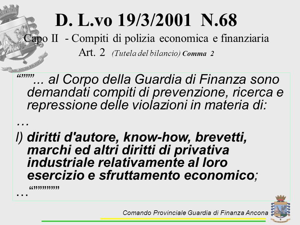 D. L.vo 19/3/2001 N.68 Capo II - Compiti di polizia economica e finanziaria. Art. 2 (Tutela del bilancio) Comma 2.