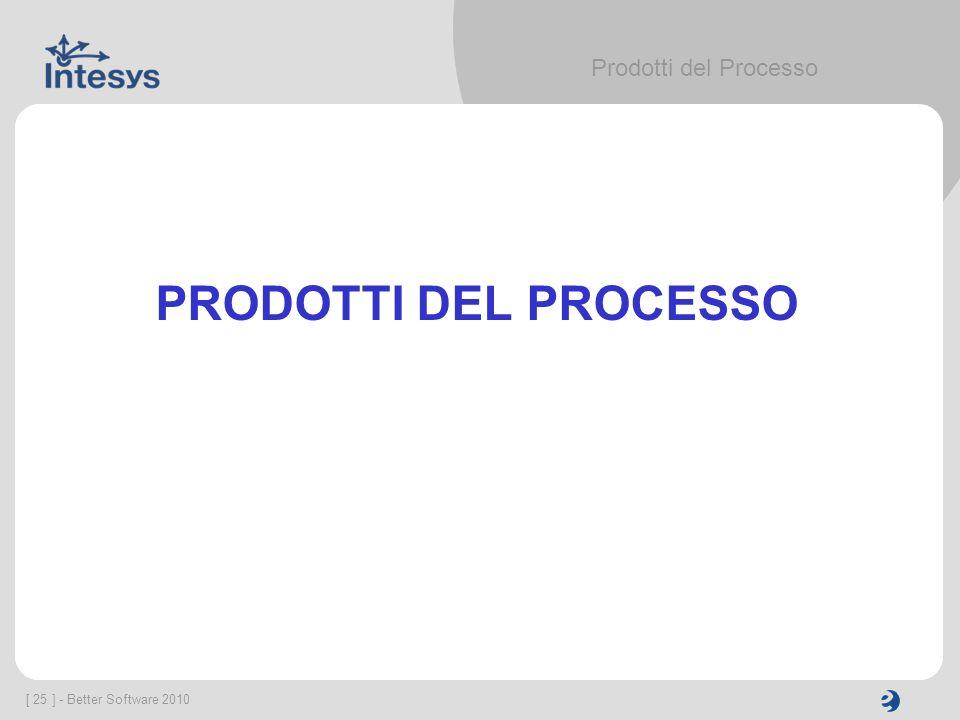 Prodotti del Processo PRODOTTI DEL PROCESSO