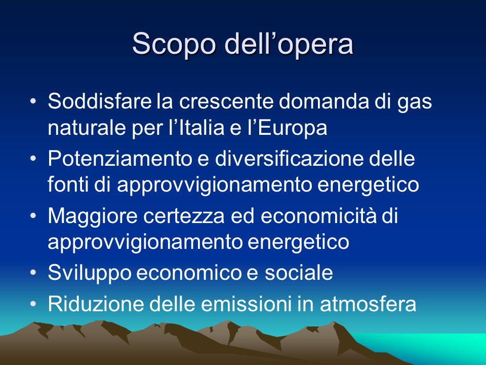 Scopo dell'operaSoddisfare la crescente domanda di gas naturale per l'Italia e l'Europa.