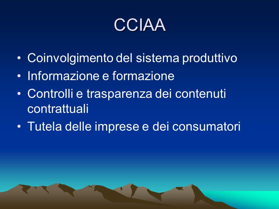 CCIAA Coinvolgimento del sistema produttivo Informazione e formazione