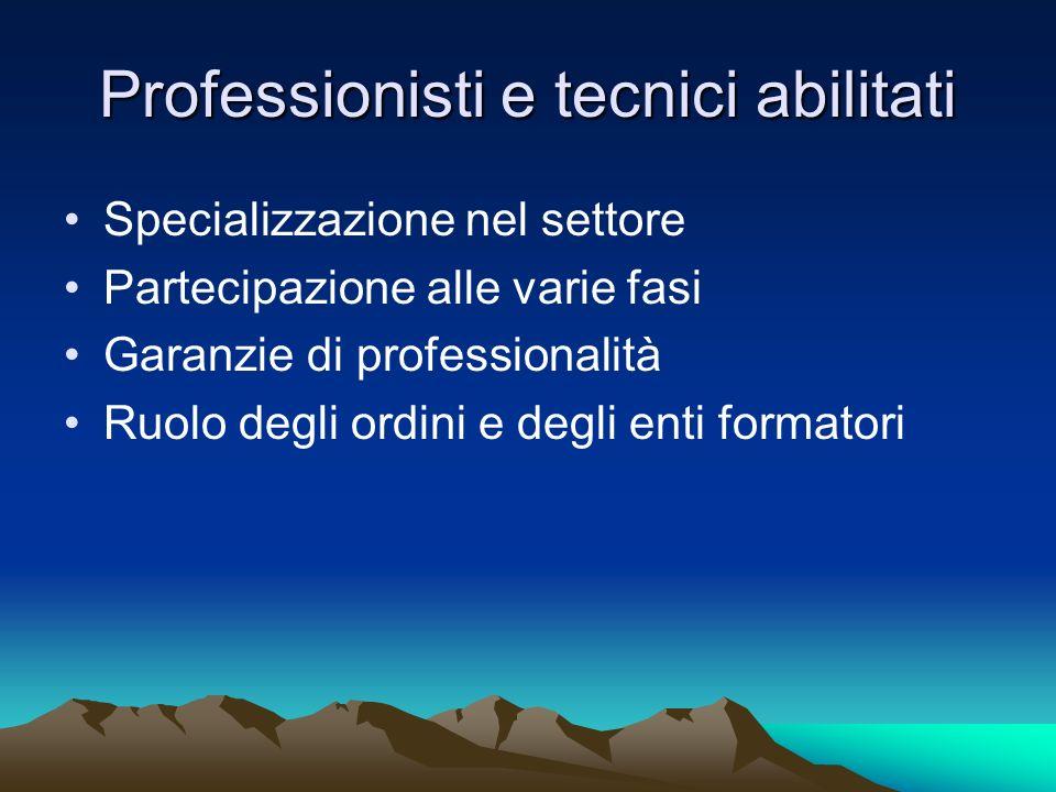 Professionisti e tecnici abilitati
