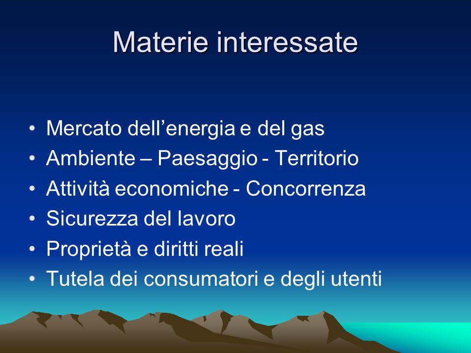 Materie interessate Mercato dell'energia e del gas