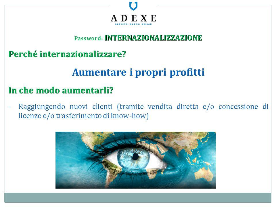 Password: INTERNAZIONALIZZAZIONE Aumentare i propri profitti