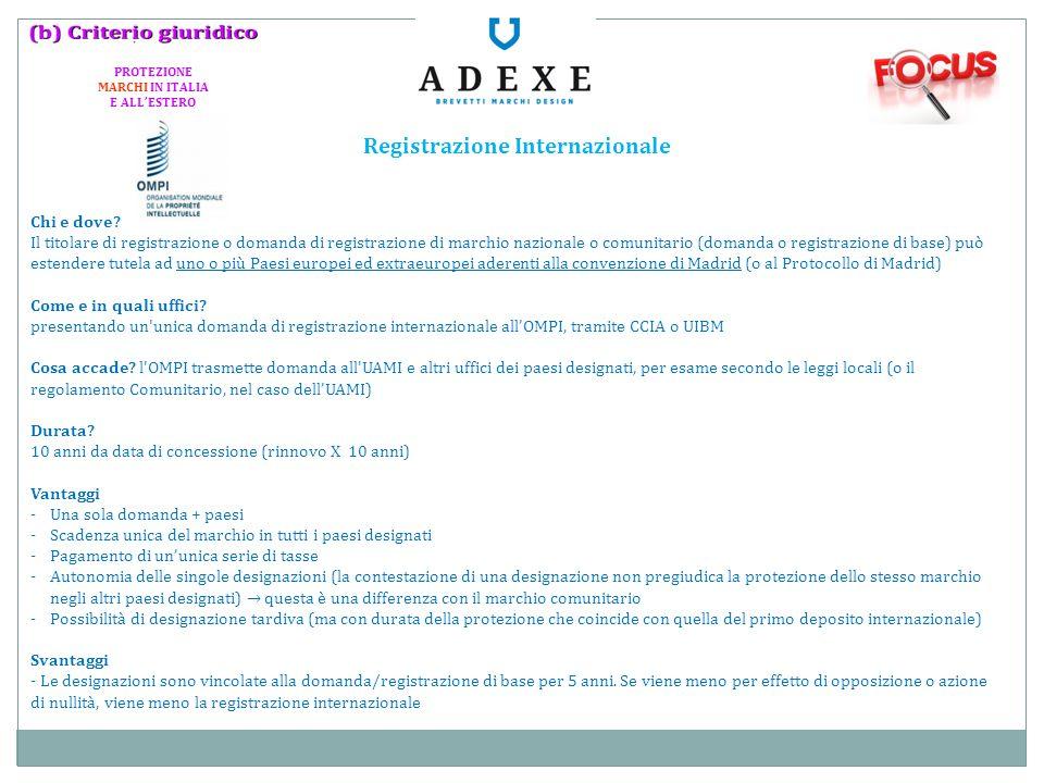 PROTEZIONE MARCHI IN ITALIA E ALL'ESTERO Registrazione Internazionale
