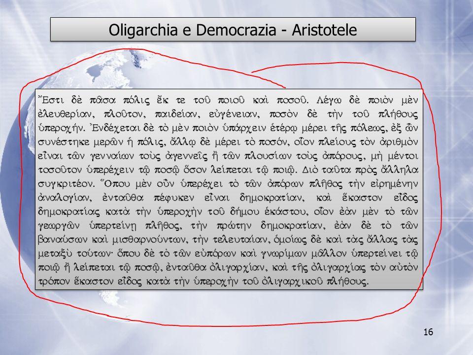Oligarchia e Democrazia - Aristotele